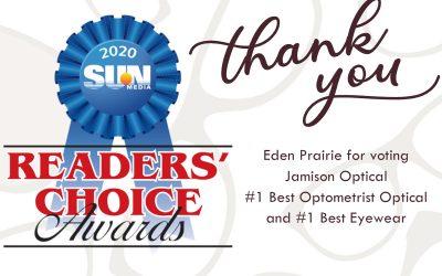 Voted #1 Best Optometrist Optical and #1 Best Eyewear in Eden Prairie by Sun Newspaper 2020