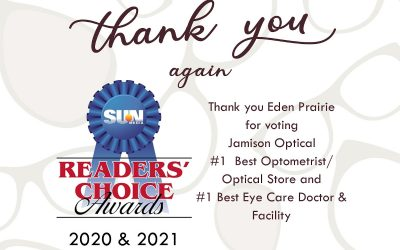 Thank you for voting Jamison Optical again as the  #1 Best Optometrist/Optical Store  &   Best Ophthalmologist/Eye Care Doctor & Facility by the Sun Newspaper readers in Eden Prairie!